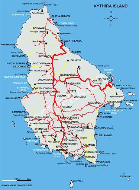 Insel Kythira Landkarte