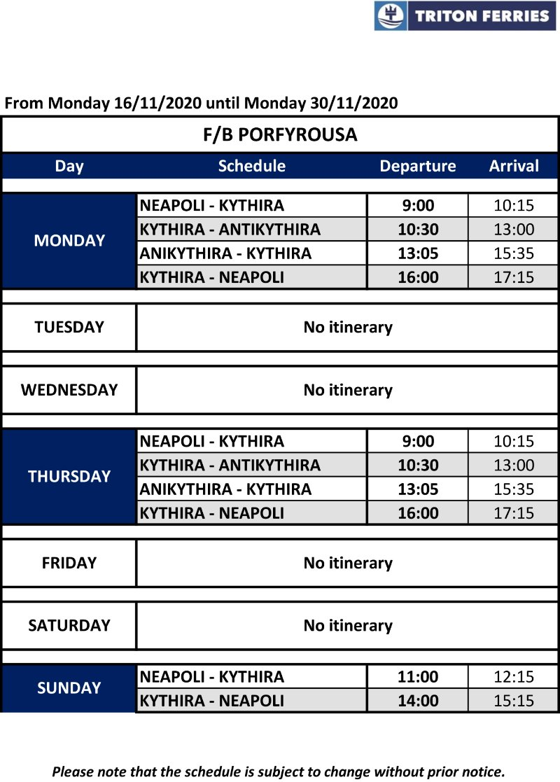 Porfyrousa November Fahrplan